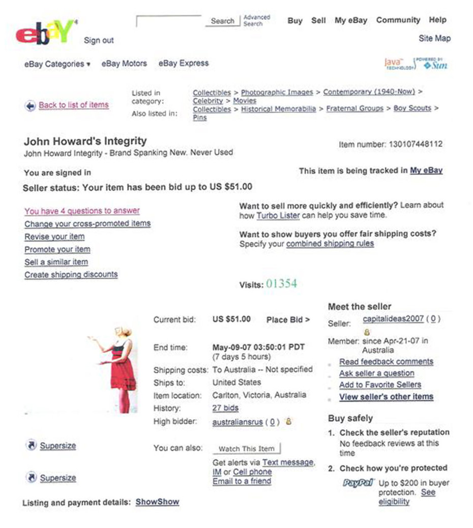 PM Howard's Integrity On eBay – Casey Jenkins